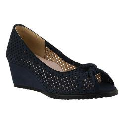 Women's Spring Step Lucina Peep Toe Wedge Navy Suede