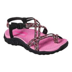 Girls' Skechers Reggae Miss Adventure Toe Loop Sandal Black/Hot Pink