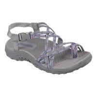 Girls' Skechers Reggae Miss Adventure Toe Loop Sandal Gray/Multi