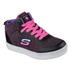 Girls' Skechers S Lights Energy Lights Knit Glitz High Top Sneaker Black/Multi