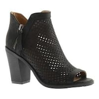 Women's Portland Boot Company Emma Perforated Peep Toe Bootie Black Nubuck Polyurethane