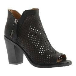 Women's Portland Boot Company Emma Perforated Peep Toe Bootie Black Nubuck Polyurethane