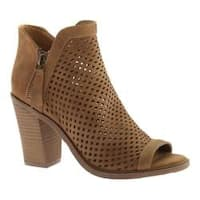 Women's Portland Boot Company Emma Perforated Peep Toe Bootie Natural Nubuck Polyurethane