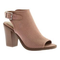 Women's Portland Boot Company Nikki Perforated Peep Toe Bootie Dusty Pink Nubuck Polyurethane