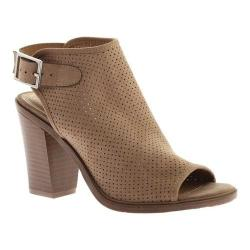 Women's Portland Boot Company Nikki Perforated Peep Toe Bootie Taupe Nubuck Polyurethane