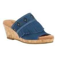 Women's Walking Cradles Aniston Cork Wedge Sandal Dark Blue Max Suede