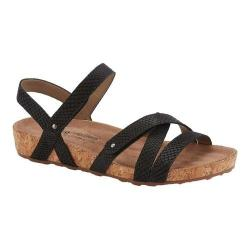 Women's Walking Cradles Pool Strappy Sandal Black Matte Snake Print/Cork