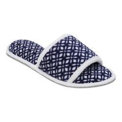 Women's Dearfoams Microfiber Terry Open Toe Slipper Navy/White
