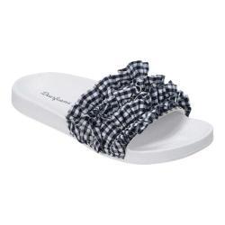 Women's Dearfoams Ruffle Molded Footbed Slide Peacoat Cotton