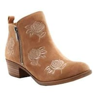 Women's Lucky Brand Basel Bootie Sesame Oil Suede Embroidered