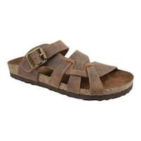 Women's White Mountain Hickory Slide Sandal Brown Leather