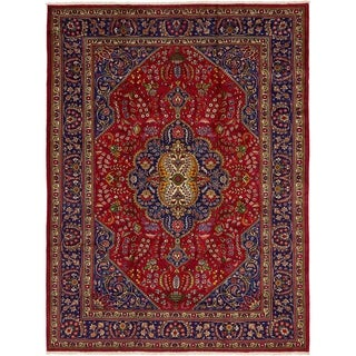 Hand Knotted Tabriz Semi Antique Wool Area Rug - 9' 9 x 13'
