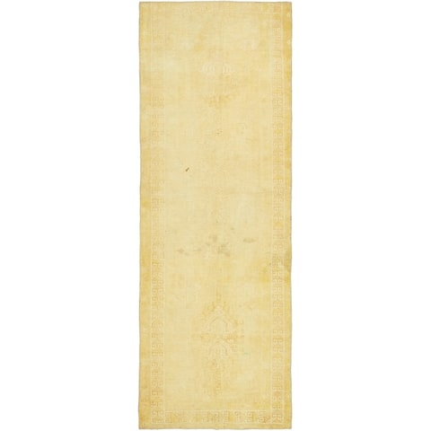Hand Knotted Ultra Vintage Antique Wool Runner Rug - 3' x 8' 8