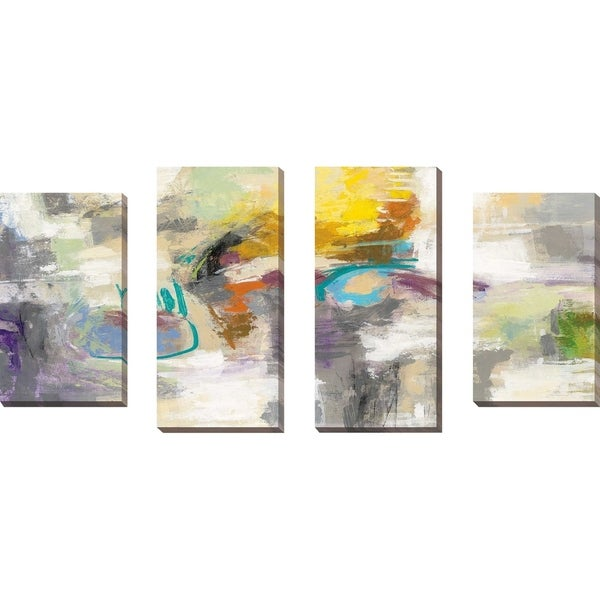 """Chalk on Asphalt"" by Silvia Vassileva Set of 4 Print on Canvas - gray"