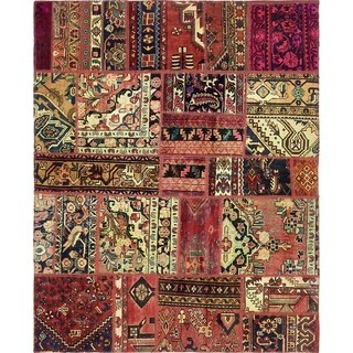 Hand Knotted Ultra Vintage Antique Wool Area Rug - 5' 7 x 6' 10
