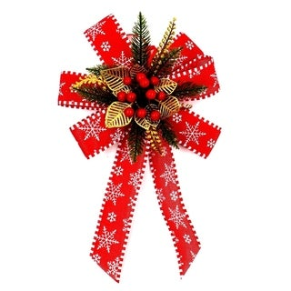"ALEKO Oversized Statement Holiday Bow Christmas 15"" Swag Red and Gold"