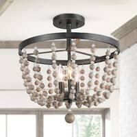 LNC 3-Light Flush Mounts Distressed Wood Beads Ceiling Lights