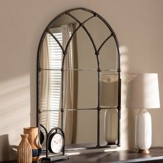 Vintage Antique Silver Arched Window Wall Mirror by Baxton Studio - Antique Silver