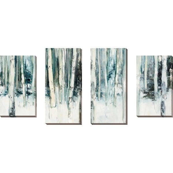 """Winter Woods III Light Trees Crop"" by Julia Purinton Set of 4 Canvas - White"