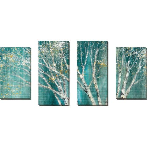 """Blue Birch Horizontal"" by Julia Purinton Set of 4 Print on Canvas - Green"