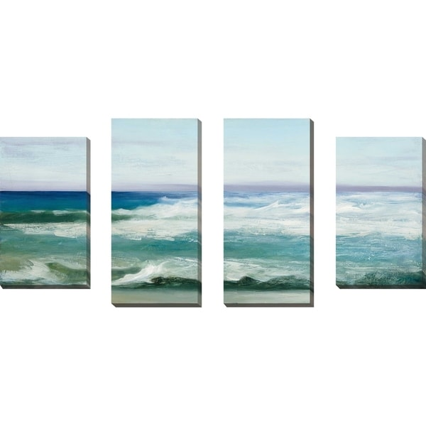"""Azure Ocean"" by Julia Purinton Set of 4 Print on Canvas - Blue"