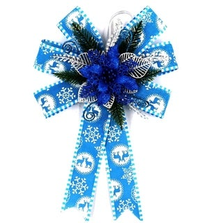 "ALEKO Oversize Statement Holiday Bow Christmas 14"" Swag Blue and Silver"