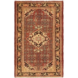 Hand Knotted Zanjan Semi Antique Wool Area Rug - 4' 4 x 6' 9