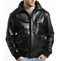Men's Black Aviator Lambskin Bomber Jacket with Detachable Collar