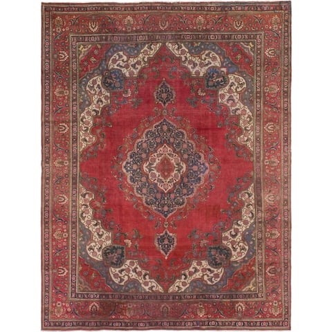 Hand Knotted Tabriz Antique Wool Area Rug - 9' 6 x 12' 7