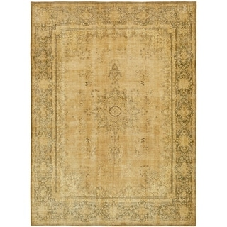 Hand Knotted Ultra Vintage Antique Wool Area Rug - 9' 8 x 13' 3