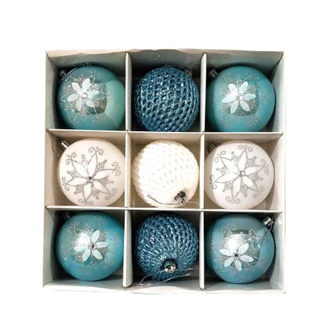 ALEKO Christmas Iridescent Holiday Ornament Pack of 9 Blue and White