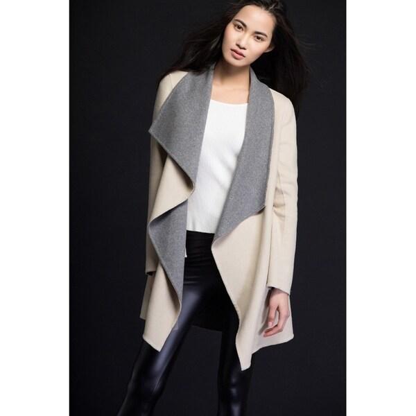 Women's Water Fall Double Faced Wool Wrap Beige Coat