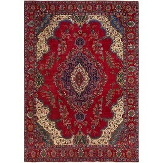 Hand Knotted Tabriz Semi Antique Wool Area Rug - 9' 4 x 13' 3