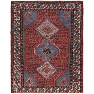 Hand Knotted Zanjan Antique Wool Area Rug - 4' 9 x 6' 9