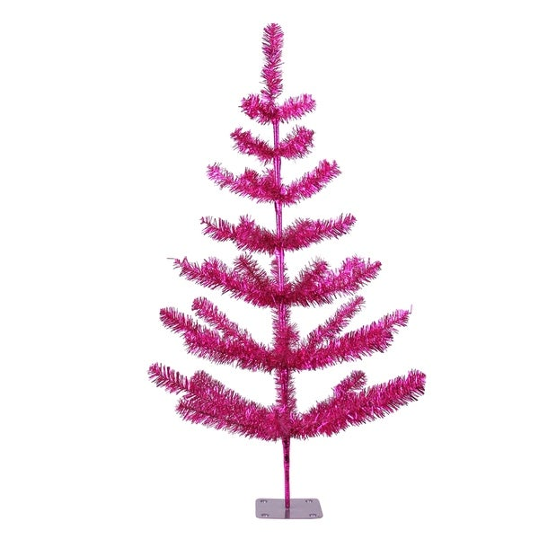 3 Fuchsia Pink Tinsel Pine Artificial Christmas Twig Tree Unlit