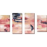 """Sakura I"" by Silvia Vassileva Set of 4 Print on Canvas - Pink"