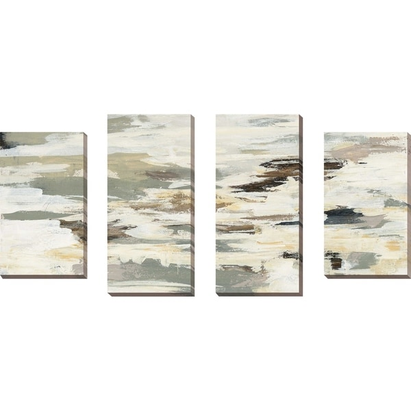 """Steps on Stones I"" Set of 4 Print on Canvas - gray"