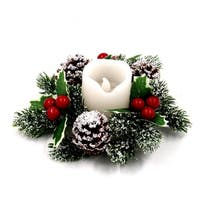 ALEKO Holiday Christmas Decoration Snow Dusted Garland Candle 6 inches