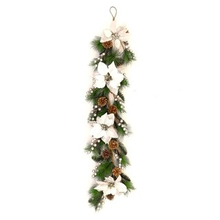 "ALEKO Christmas Pre-Decorated Garland 40"" Swag Wall Hanging or Runner Green and Silver"