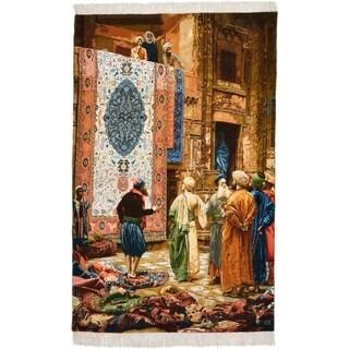 Hand Knotted Tabriz Silk & Wool Area Rug - Multi - 4' x 6' 4