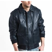 Men's Navy Aviator Lambskin Bomber Jacket with Detachable Collar