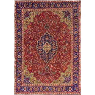 Hand Knotted Tabriz Semi Antique Wool Area Rug - 9' 3 x 13'