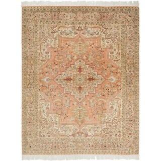 Hand Knotted Tabriz Silk & Wool Area Rug - 5' 1 x 6' 7