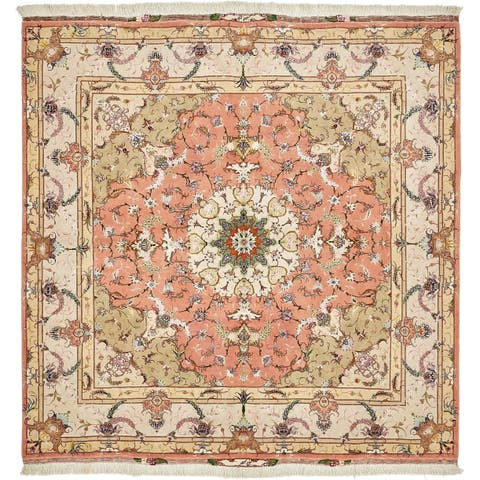 Hand Knotted Tabriz Silk & Wool Square Rug - 6' 8 x 6' 8
