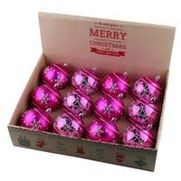 ALEKO Christmas Winter Print Ornament Holiday Set with Decorative Box Set of 12 Hot Pink