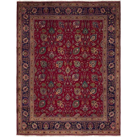 Hand Knotted Tabriz Semi Antique Wool Area Rug - 10' x 13' 2