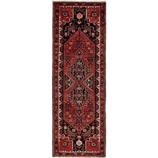 Hand Knotted Zanjan Semi Antique Wool Runner Rug - 3' 5 x 9' 11