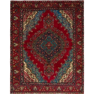 Hand Knotted Tabriz Semi Antique Wool Area Rug - 9' 10 x 12' 5