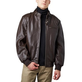 Men's Brown Lambskin Leather Bomber Jacket with Moto Collar