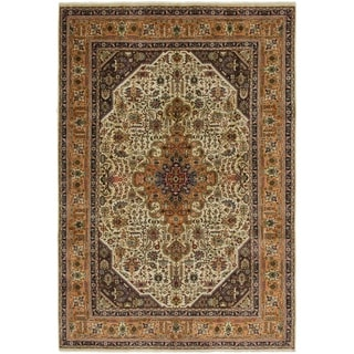 Hand Knotted Tabriz Semi Antique Wool Area Rug - 6' 6 x 9' 7